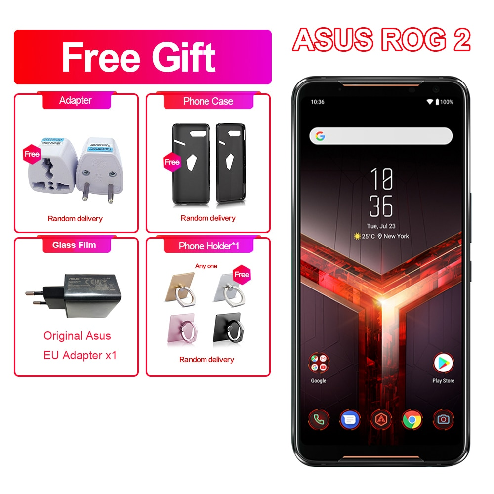 "Yeni Asus ROG telefonu 2 oyun telefon 6.59 ""8GB RAM 128GB ROM Snapdragon 855 + NFC ROG telefon II ZS660KL 6000mAh Android 9 cep telefonu"