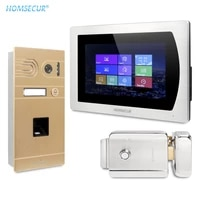 homsecur 4 wire 7 video door intercom system with touch screen monitor ip65 camera fingerprint unlock fail secure no mode lock