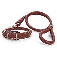 La laisse de chien en cuir marron jaune noir mène le collier de chien en cuir réglable de laisse danimal de compagnie de marche résistante pour de petits à grands chiens