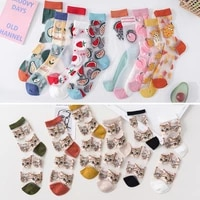 japanese korea style casual creative transparent crystal silk trend women socks cartoon fruit ultrathin glass silk socks meias