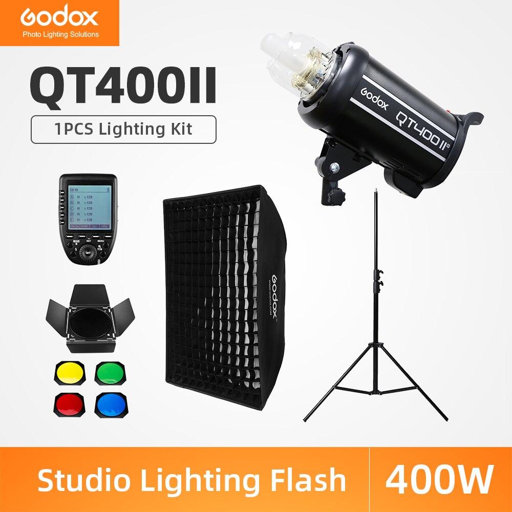 Godox QT400II 400Ws estudio profesional Flash estroboscópico + 2,8 m soporte de luz + 60x90cm, rejilla Softbox + gatillo + Kit de puerta de Granero