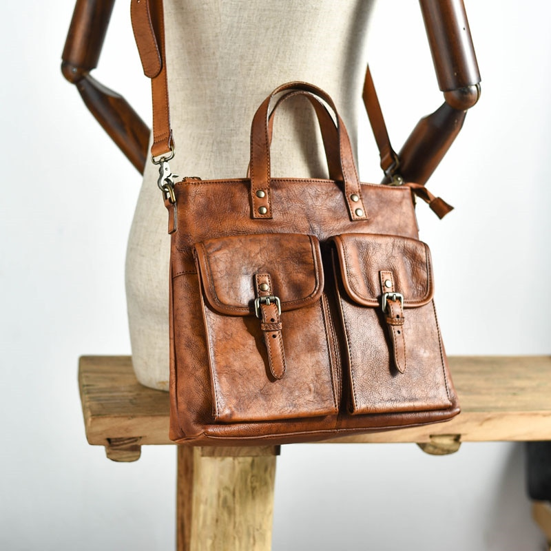 Fashion casual high quality natural genuine leather men's briefcase luxury real leather portable working brown messenger bag