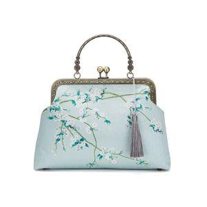 NEW Summer Green Flowers Vintage Fashion Tote Fringe Bags Shell Lock Chain Women Shoulder Crossbody Bag Women's Handbags Purses