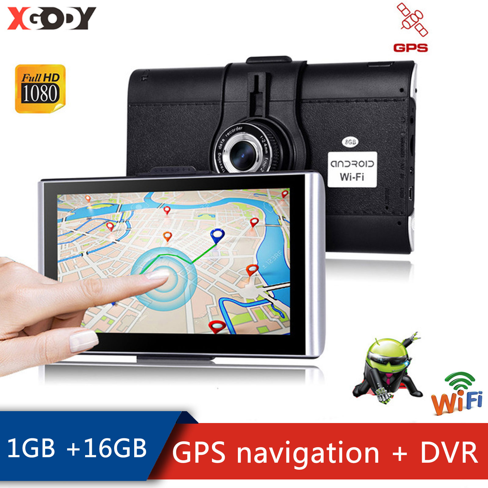 XGODY-ملاح GPS للسيارة ، شاشة 7 بوصة ، Android ، 1 جيجابايت 16 جيجابايت ، شاشة تعمل باللمس ، WiFi ، كاميرا لوحة القيادة ، DVR