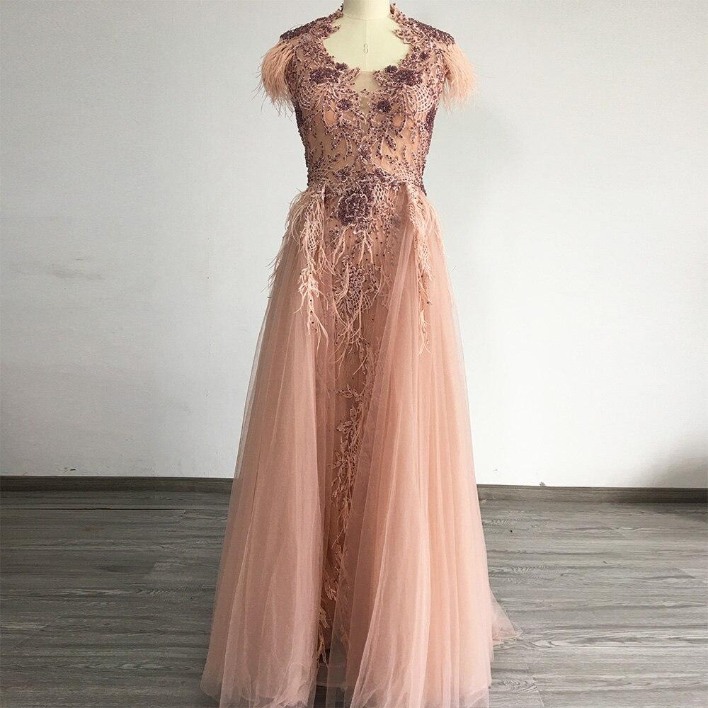 فستان سهرة تول فاخر بدون أكمام بتصميم حورية البحر ، طويل ، مع ريش كريستالي ، للحفلات الرسمية ، 2020
