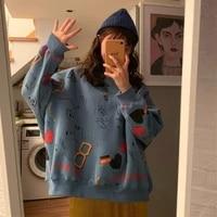 2021 autumn new korean style mid length loose long sleeved sweater female student harajuku style casual jacket female