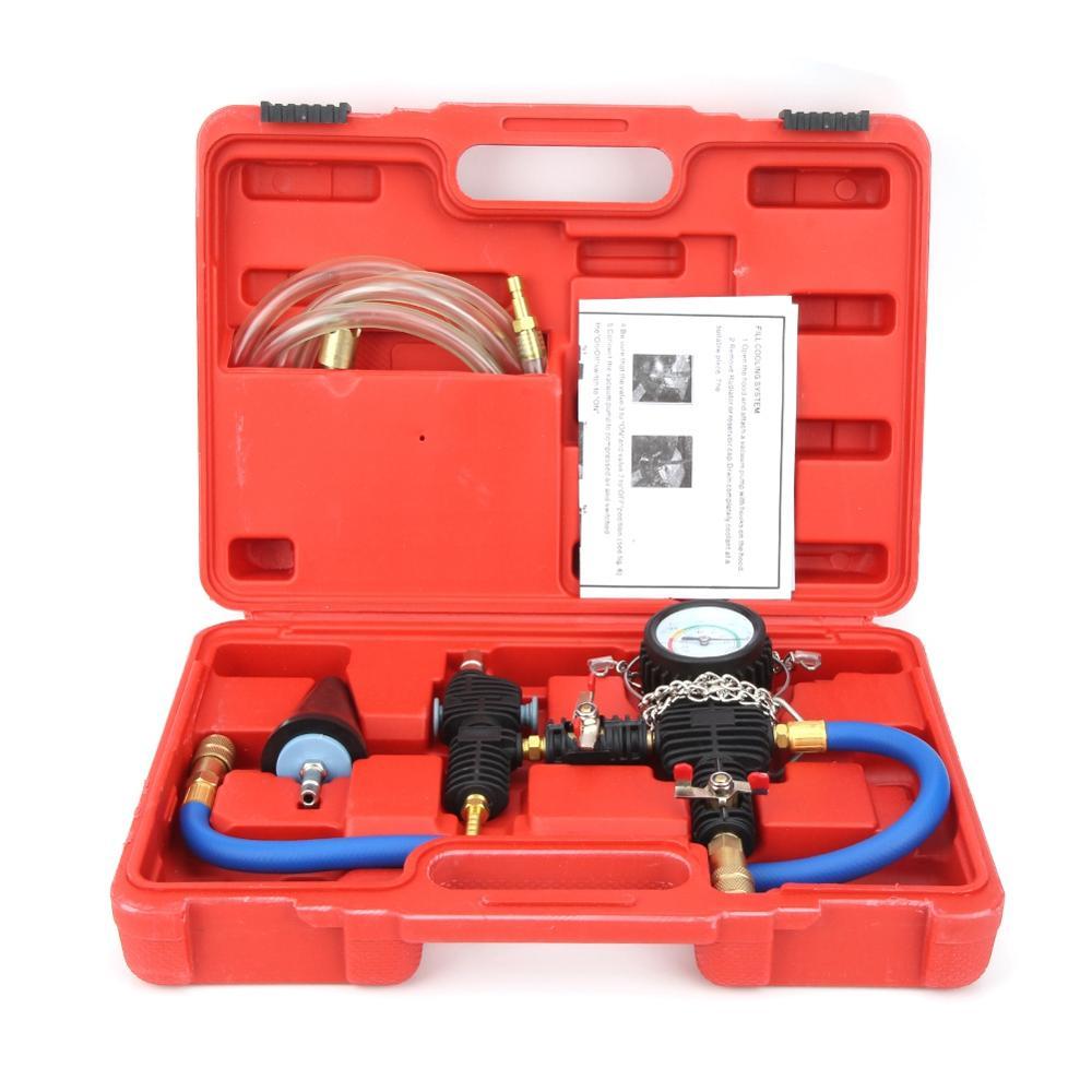 Sistema de refrigeración Oversea, Kit de recarga de purga y refrigerante al vacío con Estuche de transporte para coche, SUV, furgoneta, sistema de refrigeración, Kit de metal