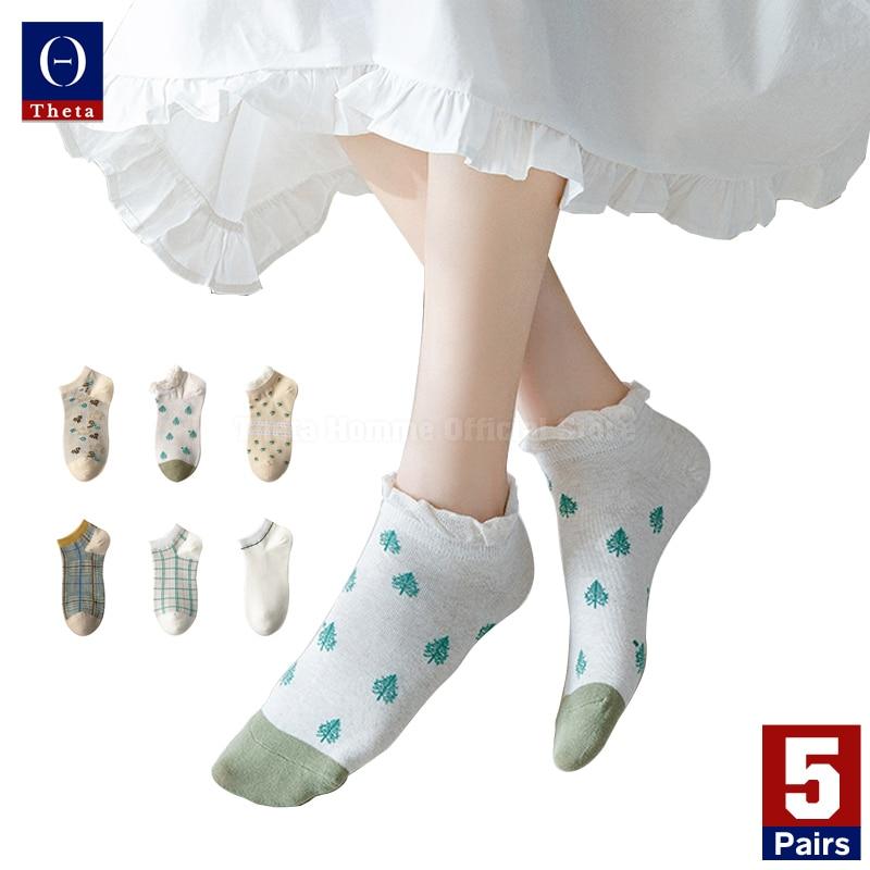 Theta 5Pairs Vrouwen Casual Leuke Student Zomer Korte Kousen Nylon Low Cut Ped Sokken Met Patroon Preppy Stijl fancy Sokken
