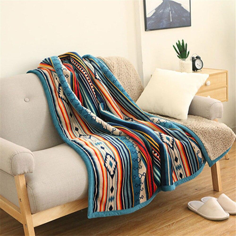 بطانية من الفلانيل فائقة النعومة ، ريترو ، صوف ، شيربا ، بوهيمي ، أريكة ، محمولة ، سيارة ، غطاء سفر ، 50 × 60 بوصة