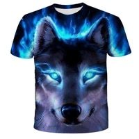 2021 summer new 3d printing t shirt wolf head ferocious snow leopard animal large size small wholesale