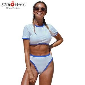 SEBOWEL Sexy Sky Blue Two piece Cropped T shirt High Waist Swimwear Push Up Swimming Suit For Women High Waist Bikini Swimwear