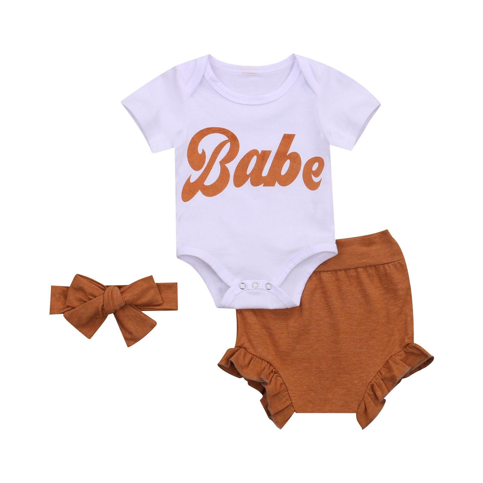 Новинка, летняя одежда для новорожденных девочек, Детский боди с буквами, топ + шорты из ПП + повязка на голову, комплект одежды, одежда для 3-18 ...