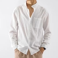 autumn men new fashion long sleeve shirt blouse solid slim fit male casual white black dress shirt men cotton loose shirt