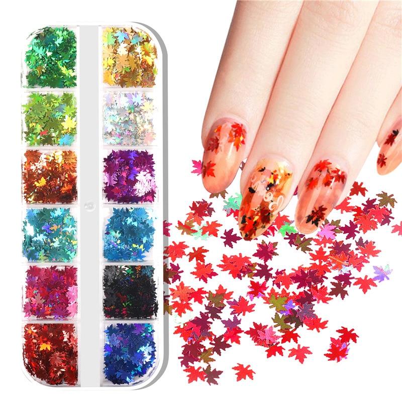 12 Grids/Set Mixed size Nail Glitter Flakes 3D Sequins Paillette Powder Charm Nail Art Decoration Ma