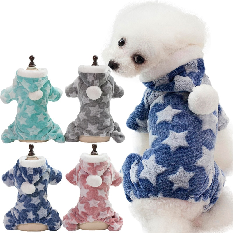 Cute Printed Dog Clothes Jumpsuit Winter Warm Puppy Cat Costume Pet Clothing Outfit for Small Medium Dogs Chihuahua Yorkshire