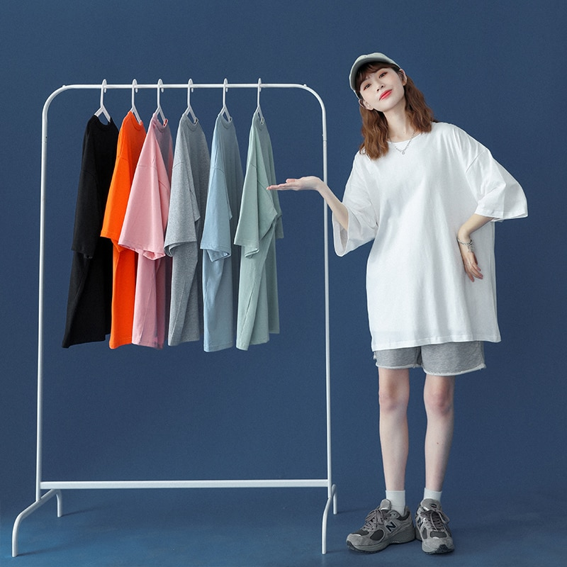 Summer T- Shirts Women Short Sleeve Lovers T Shirt 100% Cotton Loose Lady Tops Tees Casual Solid Color plus Size T-shirt