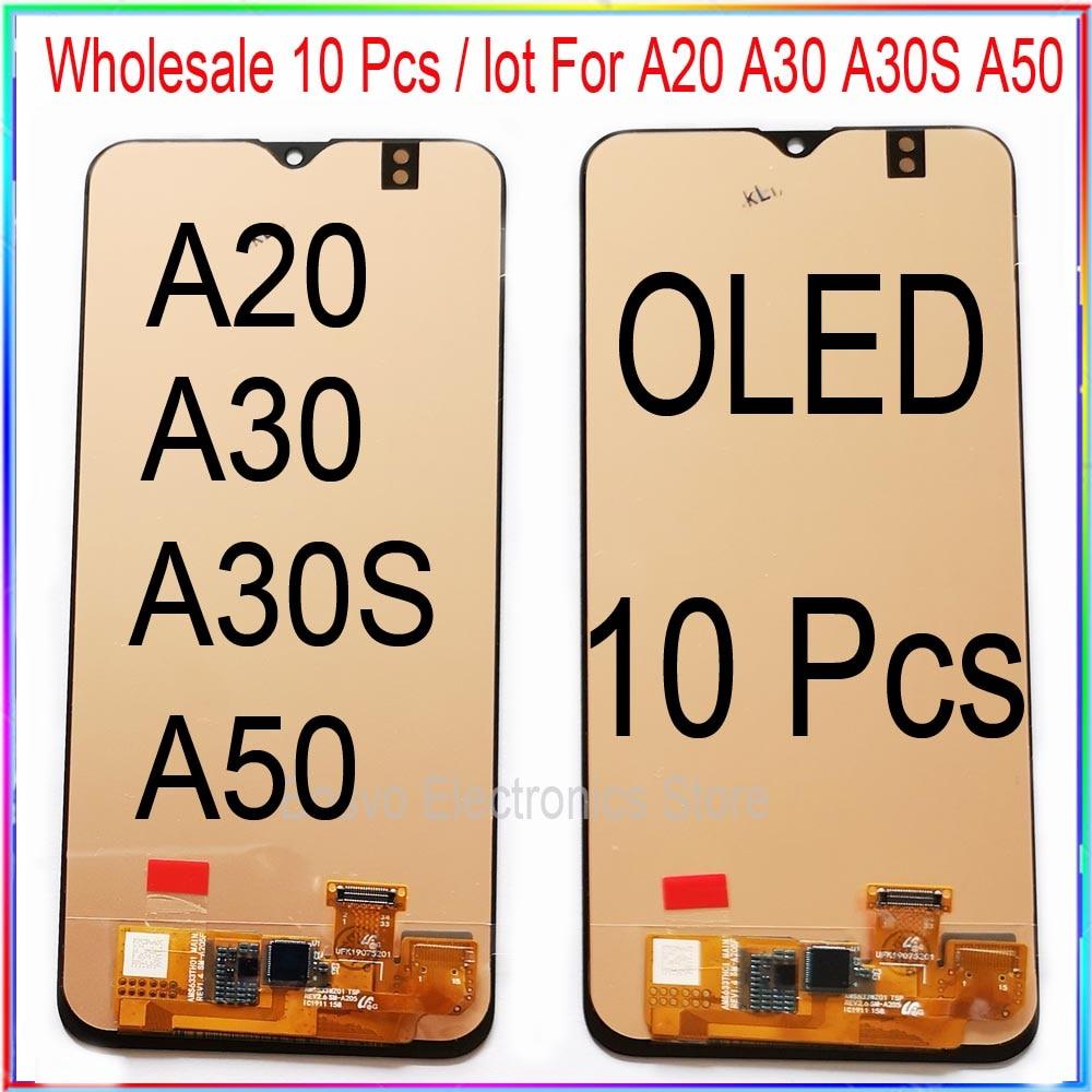 الجملة 10 أجزاء/وحدة لسامسونج A20 A30 A30S A50 LCD شاشة عرض مع اللمس الجمعية