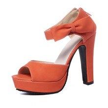 Papillon noeud nœud pompe nouvel été Peep orteil bride à la cheville orange doux épais talon haut sandales plate-forme dame femmes chaussures 789