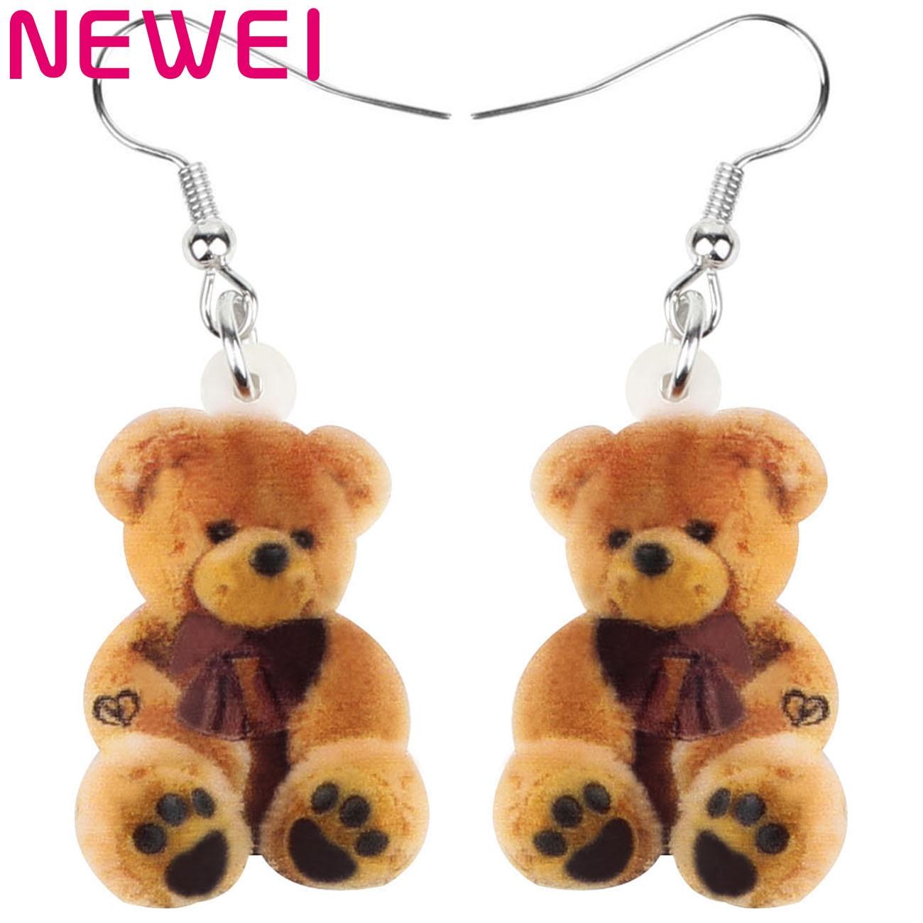 Newei Acrylic Sitting Brown Plush Teddy Bear Earrings Print Long Lovely Animal Dangle Drop Jewelry For Women Girl Kid Funny Gift