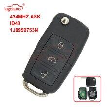 Kigoauto 1JO 959 753 N Remote key 3 taste HU66 433,9 MHZ FRAGEN ID48 für VW Bora Sitz Ibiza Skoda octavia 1J0959753N 1998-2009