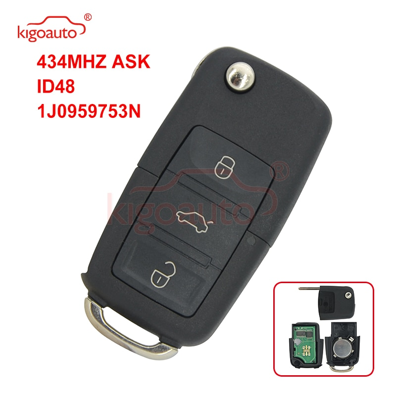 Kigoauto 1jo 959 753 n remoto chave 3 botão hu66 433.9mhz pedir id48 para vw bora seat ibiza skoda octavia 1j0959753n 1998-2009