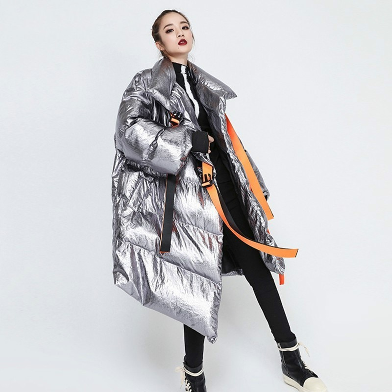 Winter Women's Down Jacket Long Sleeve Patchwork Ribbons Irregular Cotton Coats Female 2021 Autumn Plus Thick Warm