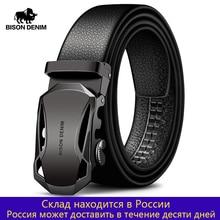 BISON DENIM hommes ceinture en cuir de vache ceintures marque de mode automatique boucle noir en cuir véritable ceintures pour hommes 3.4cm largeur N71314