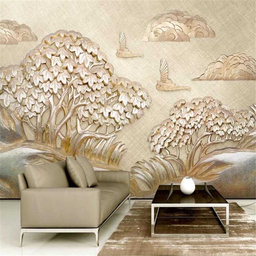 Milofi papel pintado grande personalizado mural dorado relieve velero pequeño árbol nube 3d TV estéreo fondo de pared
