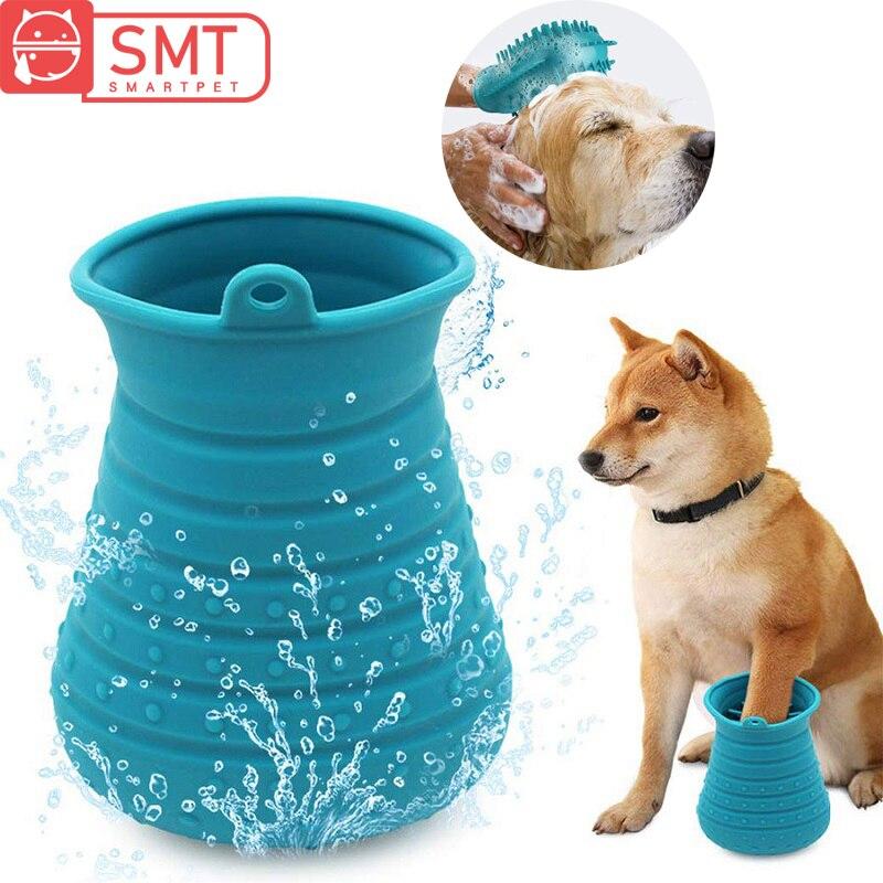 Cão sujo pata limpador copo macio silicone cães pé lavadora copo cão gato escova de banho luva grooming pente massageador escova de limpeza