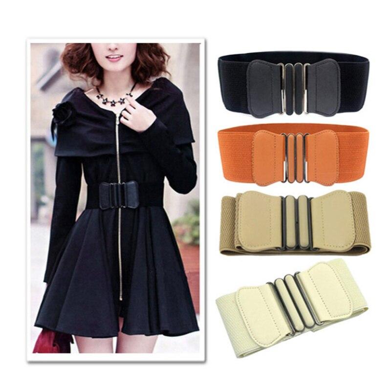 Women Waist Belt Cummerbund Elastic Belt Square Buckle Black Dress Decorate Waistband Women Wide PU