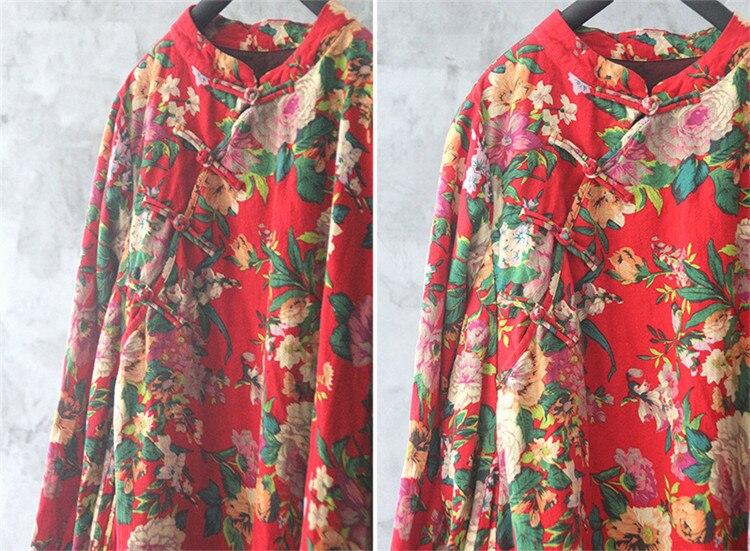 Original algodón y cáñamo estampado étnico de una sola pieza Falda Mujer vestido grande suelto retro chino hebilla Robe