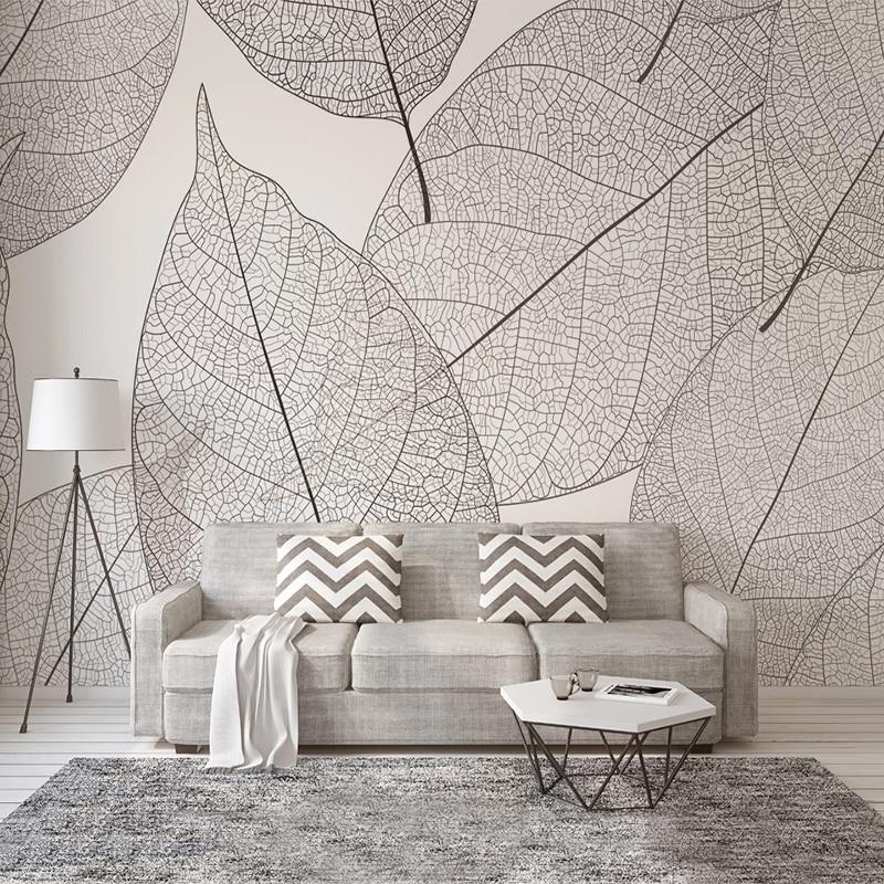 Настенная креативная однотонная текстура с листьями на заказ, фон для спальни, гостиной, настенное украшение, картина, обои, домашний декор