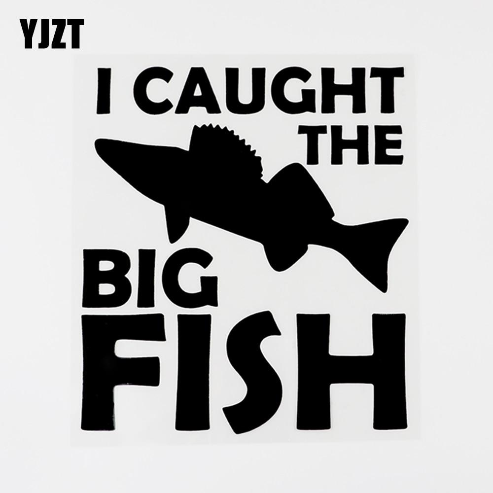 YJZT 15CM×17CM Creative Decal I Caught The Big Fish Vinyl Car Sticker Black/Silver 8C-0313