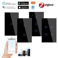 1 2 3 4 bande Intelligente Zigbee Interrupteur Tactile Mural Bouton pour Alexa et Google Assistant A Domicile NOUS Standard Vie Intelligente APPLICATION AC100-240