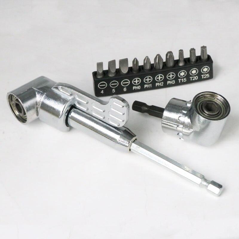 Патрон-адаптер для отвертки с шестигранным хвостовиком на 105 градусов, регулируемые сверла, Угловая головка для отвертки