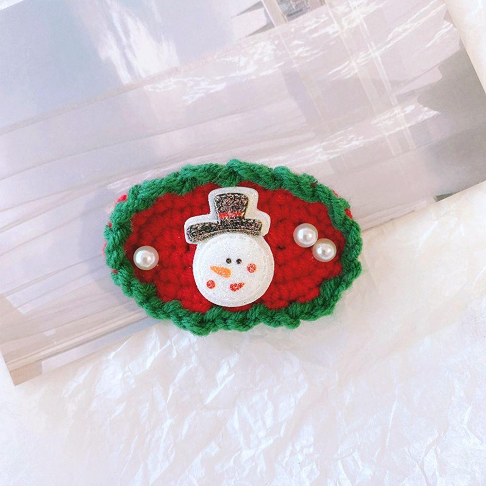Snowflake Christmas Hat Christmas Tree Wool Christmas Hairpin Korean Style Headwear Kids Hair Clip Knitted Hair Rope