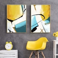 abstract geometry blue yellow canvas painting wall art nordic posters and prints wall pictures for living bedroom decoration