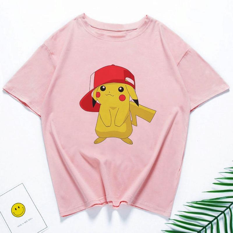 Nuevo Pikachu con un sombrero Vogue de dibujos animados japoneses camiseta Mujer Tops Harajuku Kawaii camiseta Casual de manga corta chica camiseta mujer