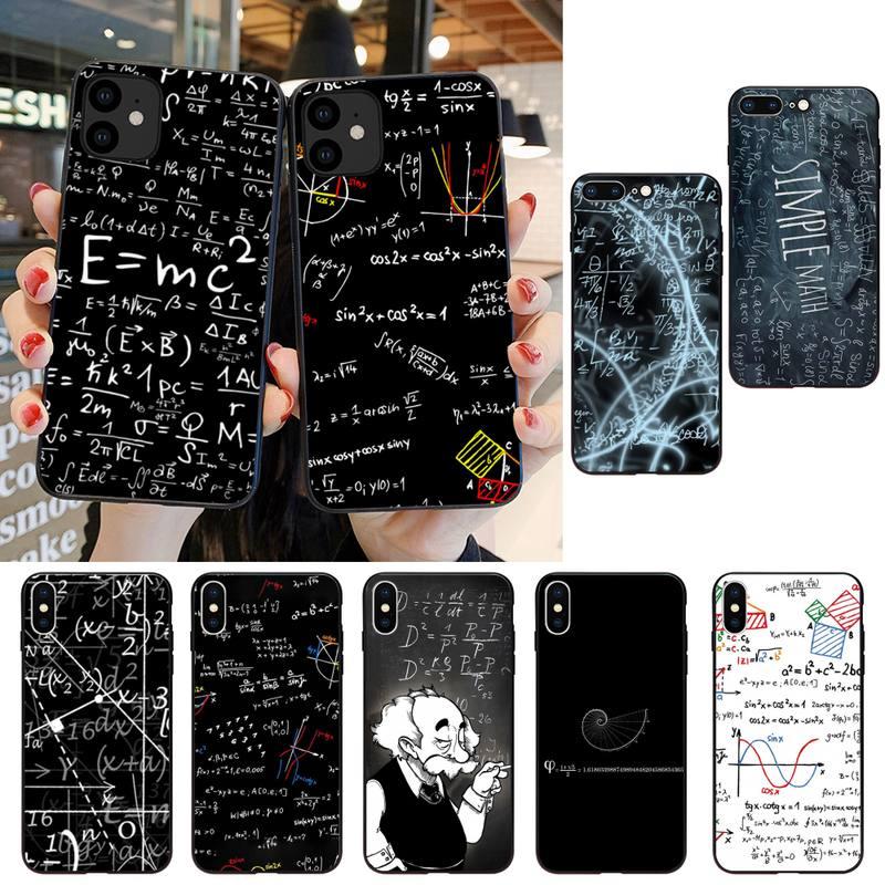 HTXian e mc2 с E = mc Math Альберт Эйнштейн мягкий черный чехол для телефона iPhone SE2 11 Pro XS MAX XS XR 8 7 6 Plus 5 5S SE чехол