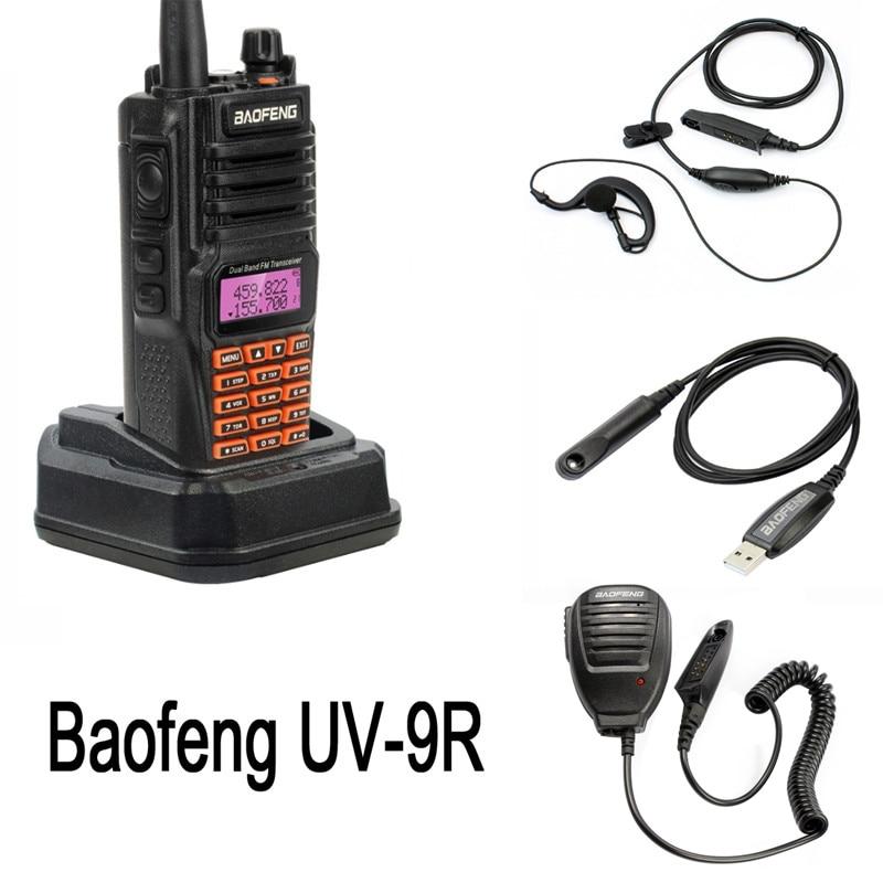 Walkie-talkie baofeng ip67 5w, walkie-talkie com faixa dupla amadora, 10km, uv9r, portátil, comunicador de rádio cb, UV-9R fone de ouvido microfone