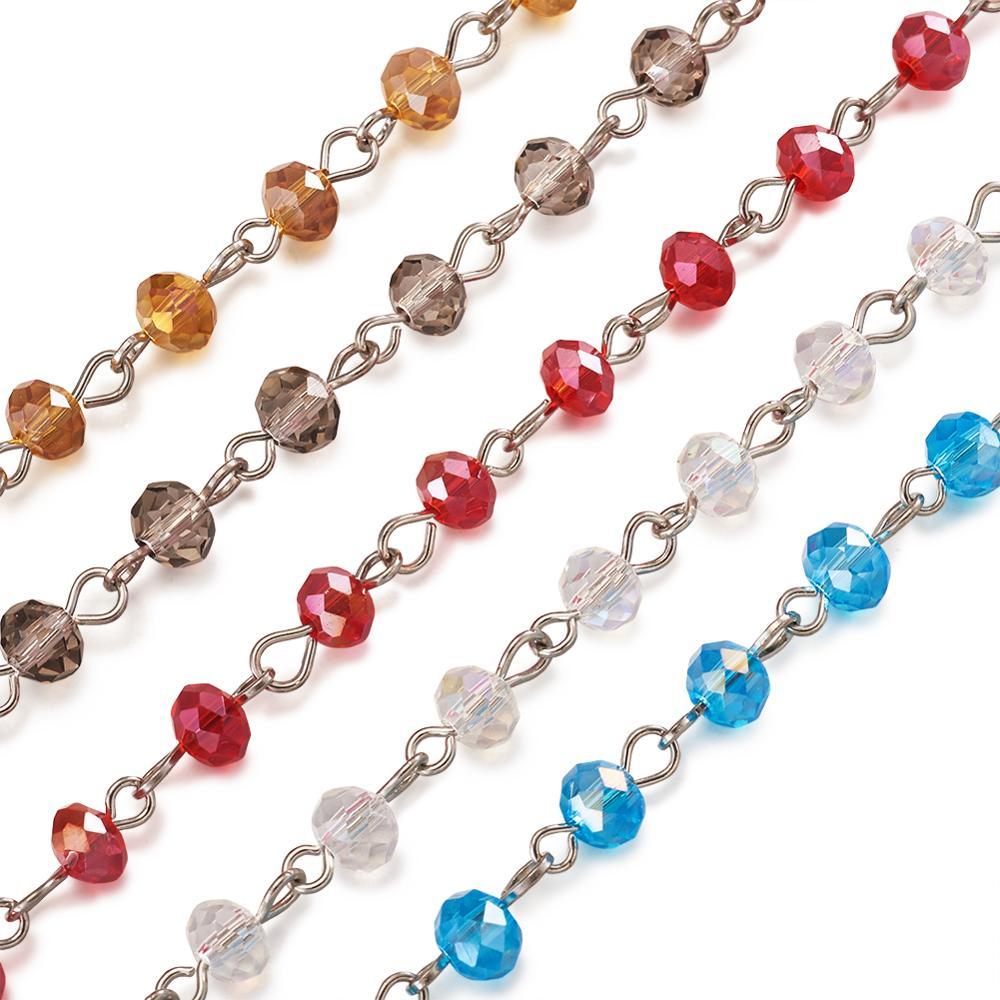 """Cuentas de vidrio de cristal facetadas Rondelle de 6mm cadenas para pulseras collar fabricación de joyas DIY 39,3"""""""