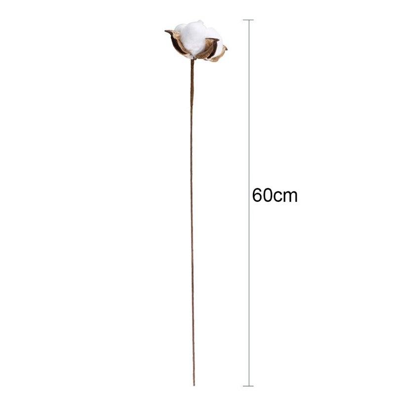 20Pcs 24 Inches Natural Dried Cotton Stem, Farmhouse Artificial Flower Filler Floral Arrangement Home Party Decor