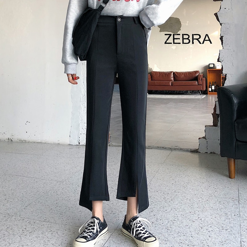 Spring High Waist Slit Small and Micro Bell-Bottom Pants Women's 2020 New Slim Fit Slimming Casual C