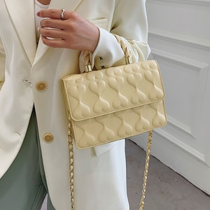 Bags For Women 2021 New PU Leather Embossing Heart-shaped Shoulder Crossbody Bag With Chain Girl Lovely Handbag Square Small