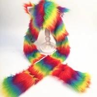 women rainbow stripes furry animal hoodie hat fluffy plush ears paws 3 in 1 multifunctional earflap cap scarf gloves mittnes win