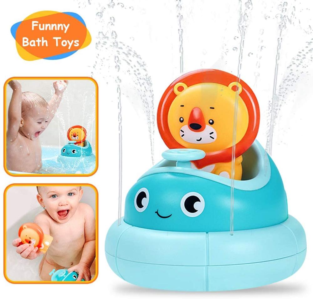 Baby Bath Toys Spray Water Shower Swim Pool Bathing Toys for kids Spinning Boat with Toy Lions Bathtub Toys for Toddlers Kids