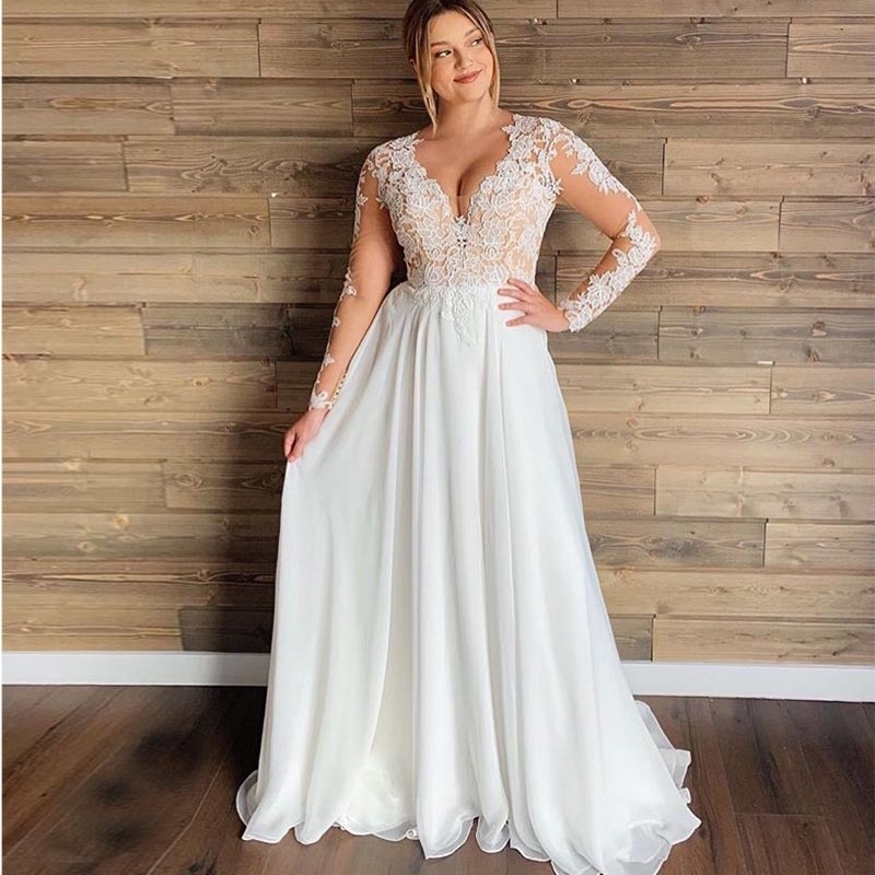 Plus Size Long Sheer Lace Sleeve Boho Wedding Dress 2020 Sexy Deep V-Neck White Chiffon Beach Wedding Dresses Covered Back Bride