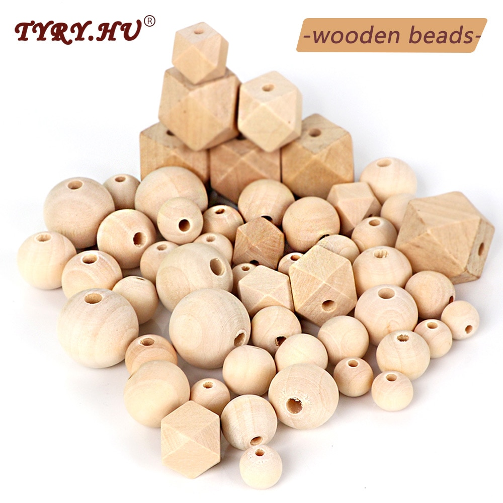 TYRY.HU Wooden Beads Beech Teether Beads Making Bracelet Pacifier Chain Accessories For Children Woo