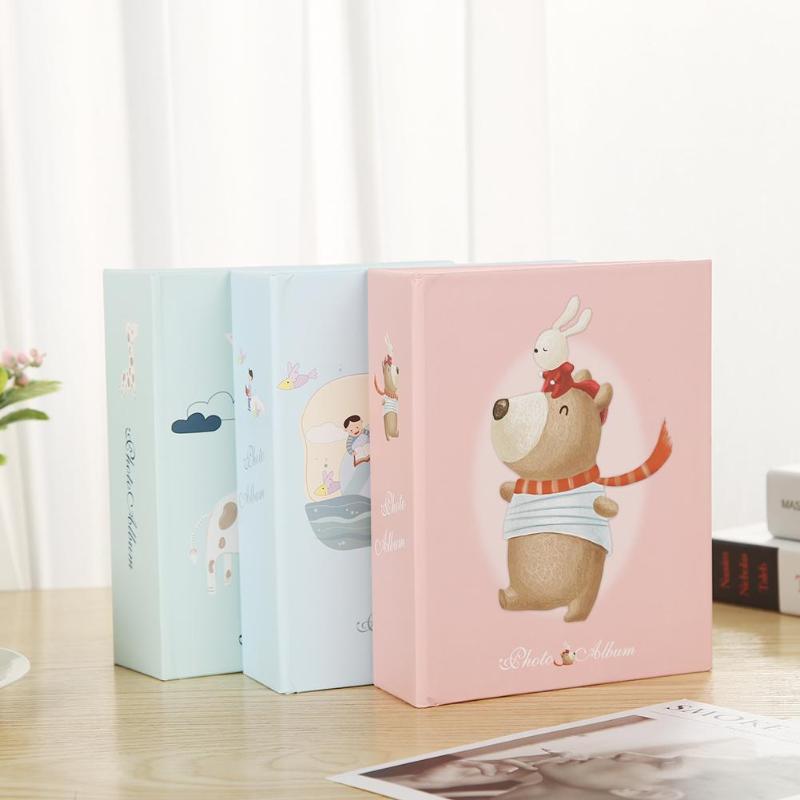 Álbum de fotos de desenhos animados, 1 peça, 100 folhas, 6 polegadas, scrapbook, crianças, aniversário, livro de memória, armazenamento, família, casamento, álbum de crianças, aleatório enviar envio