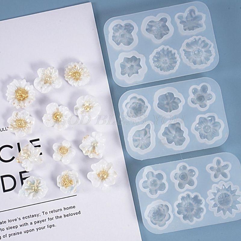Resina epoxi de cristal molde pequeño flores decoración de molde de silicona para manualidades artesanía herramientas joyería, envío de la gota